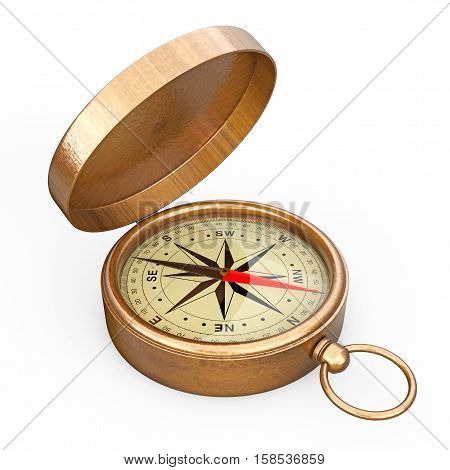 Antique Vintage Brass Compass on a white background. 3d Rendering