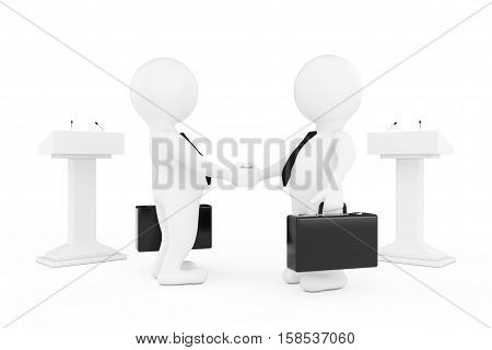 3d Businessman or Politicians Characters Shaking Hands near Tribunes on a white background. 3d Rendering
