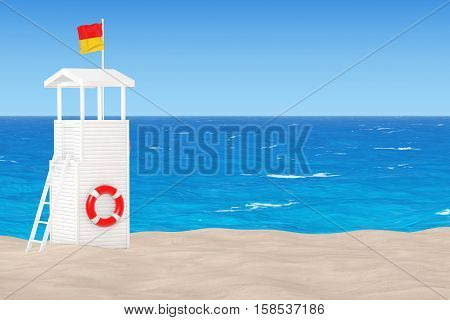 Lifeguard Tower on the Sand Sunny Beach extreme closeup. 3d Rendering