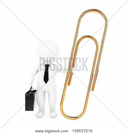 3d Businessman with Golden Paper Clip on a white background. 3d Rendering