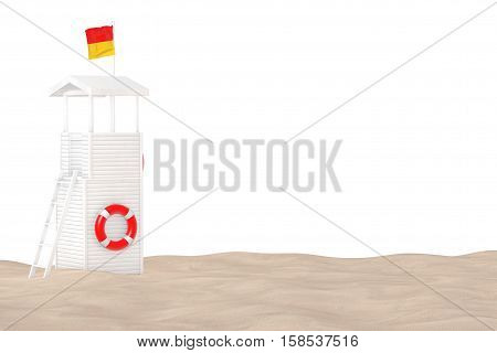 Lifeguard Tower on the Sand Sunny Beach extreme closeup on a white background. 3d Rendering
