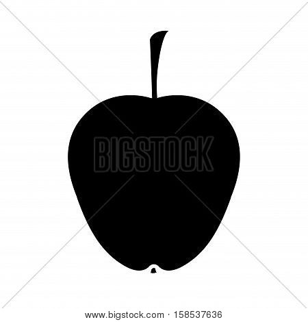 silhouette monochrome of apple with stem vector illustration