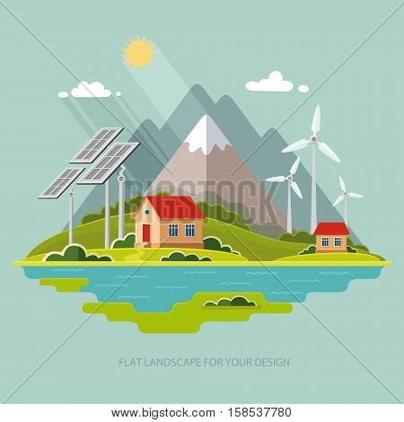 Environmental landscape cottages mountains in the background. Solar and wind energy. Environmental protection. Flat design style vector illustration.