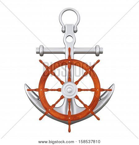 Ship Steering Wheel with Silver Nautical Anchor on a white background. 3d Rendering