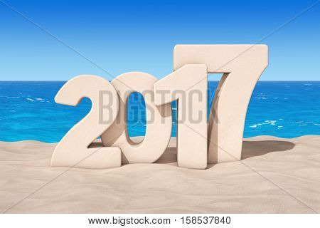 Happy 2017 New Year Concept. 2017 New Year Sign at Sunny Beach extreme closeup. 3d Rendering