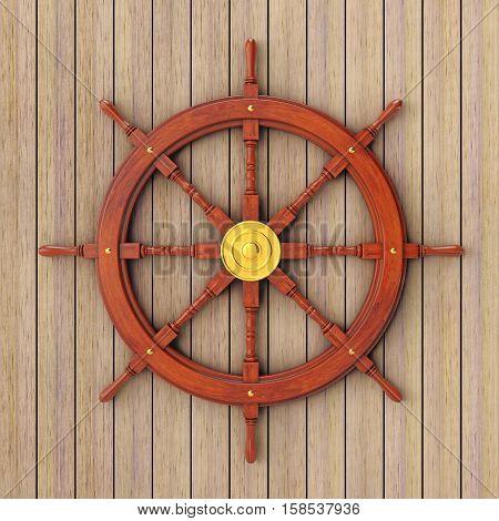 Vintage Wooden Ship Steering Wheel in front of wooden plank wall. 3d Rendering