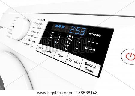 Modern Washing Machine Control Panel extreme closeup. 3d Rendering