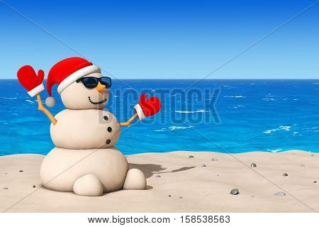 Sandy Christmas Snowman at Sunny Beach extreme closeup. 3d Rendering