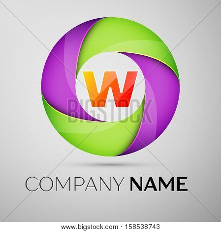 Letter W vector logo symbol in the colorful circle. Vector template for your design