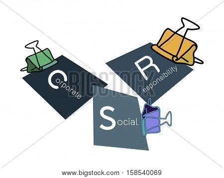 Business Concepts Binder Clips with CSR Abbreviation or Corporate Social Responsibility Achieve Notes.