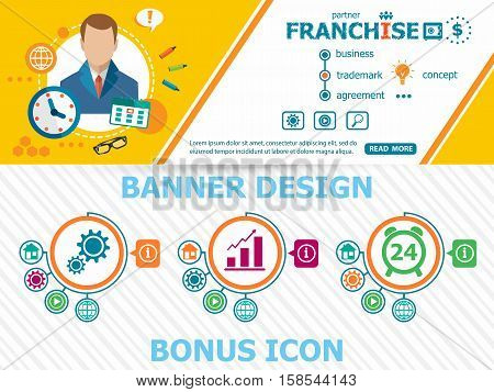 Franchise Concepts And Abstract Cover Header Background For Website Design.