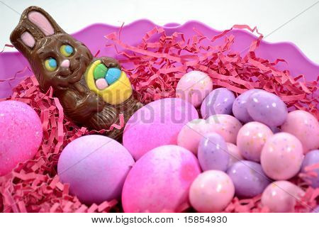 Pink Easter With a Chocolate Bunny