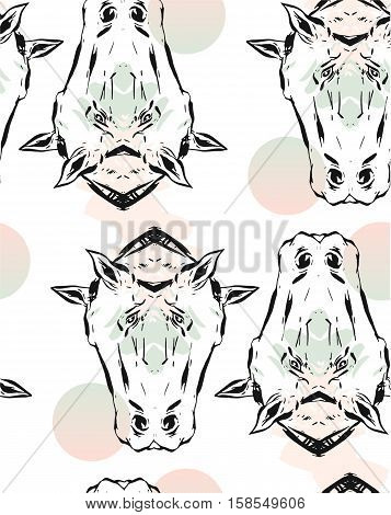 Hand drawn vector lined abstract ink graphic horses mirror heads seamless pattern isolated on white background.Minimalistic style.Unusual pattern.Wrapping papper.Fashion print.Bohemian style.