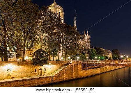 Notre Dame de Paris cathedral illuminated at twilight with the Seine River and the Pont au Double. Ile de La Cite. 4th Arrondissement, Paris, France