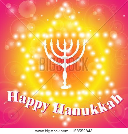 Happy Hanukkah background. Candlestick - Hanukkah. Star of David with the candlestick.