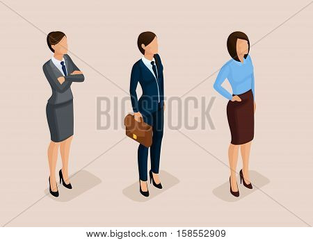 Isometric elegant pretty business woman in business clothing. Basic wardrobe, feminine code corporate dress. The modern style of a business woman. Vector illustration.