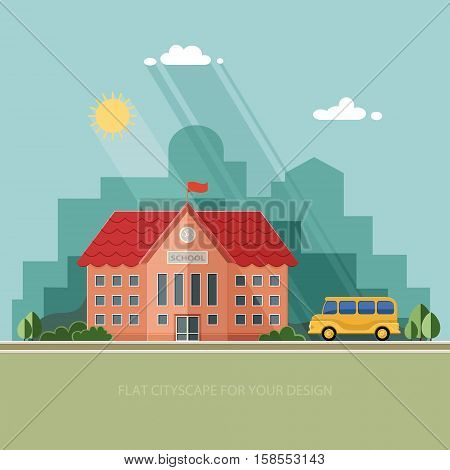Welcome back to school. Building and school bus on the background of the city. Flat style vector illustration.