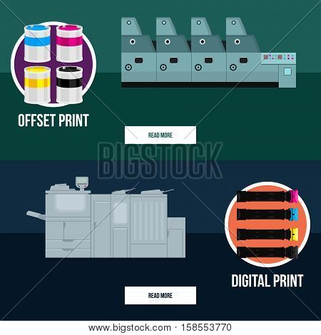 Set of flat web banners with print equipment. Business press machines. Color media collection.Copy and scan. Laser, offset machine. Publisher industry.