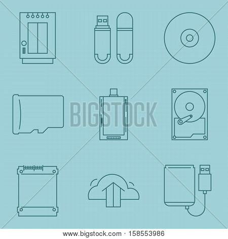 Information storage equipment icon collection. Data devices vector set. Blue isolate outline symbol.
