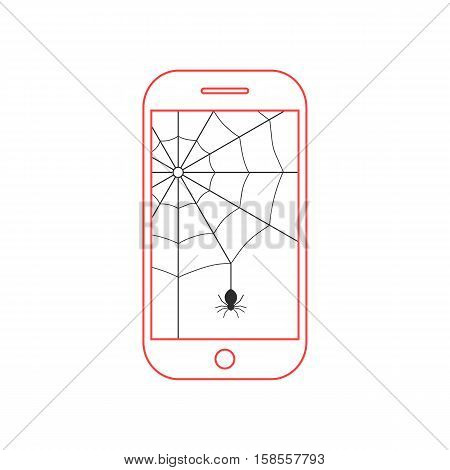 red smartphone with black cobweb. concept of protect, support, tech service, criminal hacker, privacy, spam, programming. isolated on white background. flat style modern design vector illustration