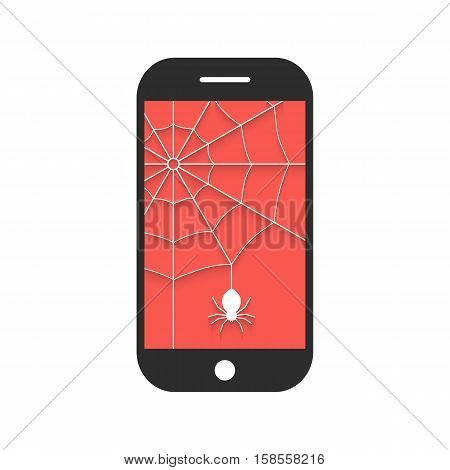 smart phone with cobweb and shadow. concept of protect, support, tech service, criminal hacker, privacy, spam, programming. isolated on white background. flat style modern design vector illustration