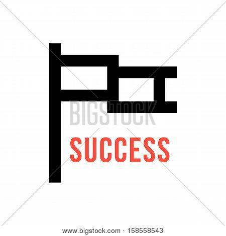 pixelart flag like leadership icon. isolated on white background. 8 bit style modern logotype design vector illustration