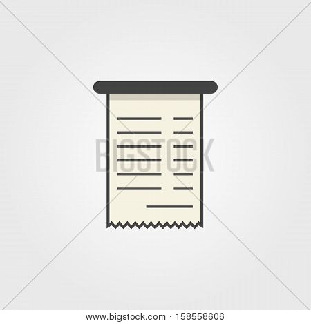 simple bank check icon. concept of e-commerce, profit, virtual economic, debit, deposit, purchase, message. isolated on grey background. flat style trend modern design vector illustration