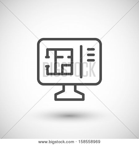Architectural modeling line icon isolated on grey. Vector illustration