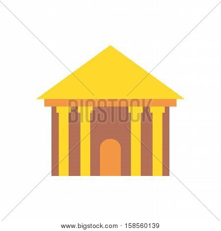 Greek Temple Isolated. Palace With Columns. Ancient Architecture Building
