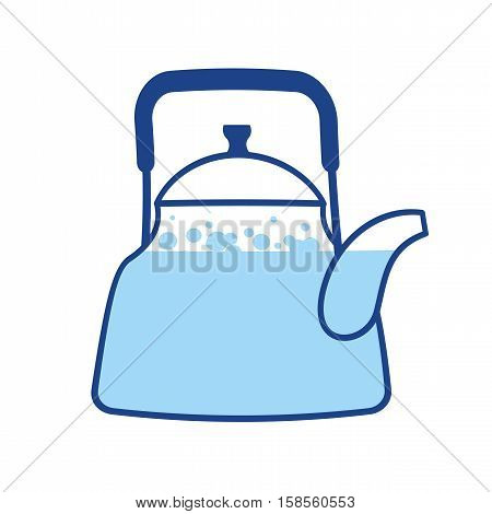 Kettle Boiling Wate. Teapot Isolated. Kitchen Utensils. Crockery On White Background