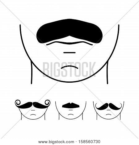Big set of vector hipster mustache. Collection of cartoon barber silhouette hairstyle . Various types of whiskers