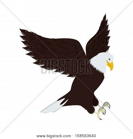silhouette eagle in hunting position vector illustration