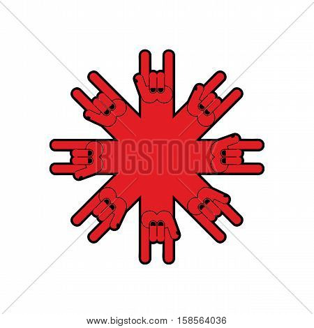 Rock Hand Symbol Of Music. Rock And Roll Emblem Isolated