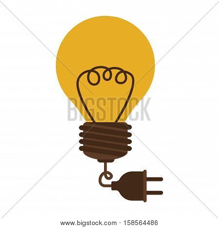 silhouette electric bulb with cord and plug vector illustration