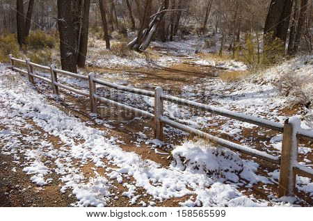 Fence in Indian Creek, near Canyonlands in Utah, Usa.