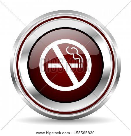 no smoking icon chrome border round web button silver metallic pushbutton