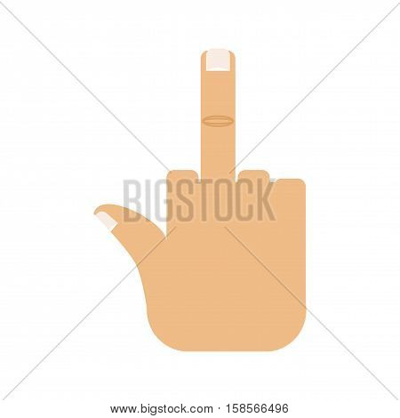 Fuck Hand. Aggression Symbol. Middle Finger Up.