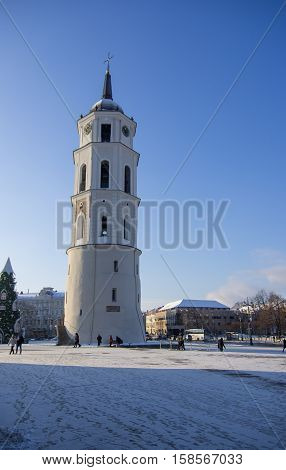Vilnius, Lithuania - January 4, 2016: Belfry Tower of a Vilnius Cathedral in Vilnius the capital of Lithuania