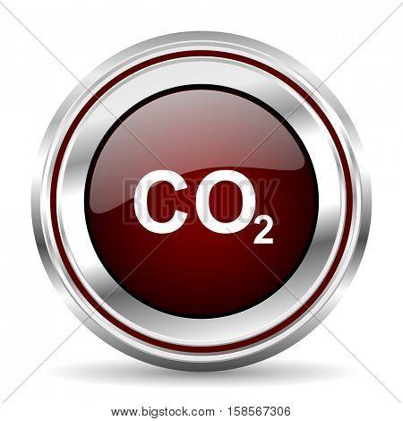 carbon dioxide icon chrome border round web button silver metallic pushbutton