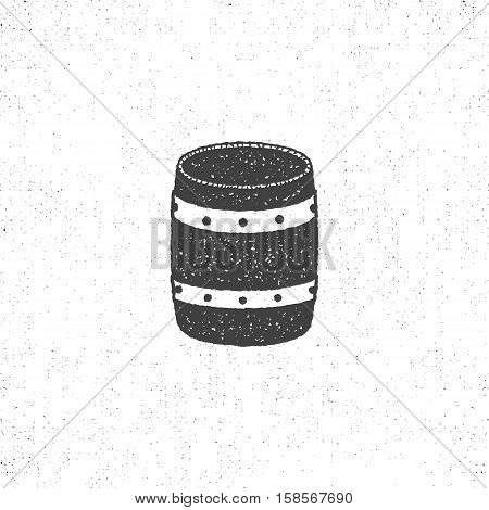 retro barrel icon. Isolated on white background barrel symbol. Vintage silhouette design. Stock vector barrel pictogram.