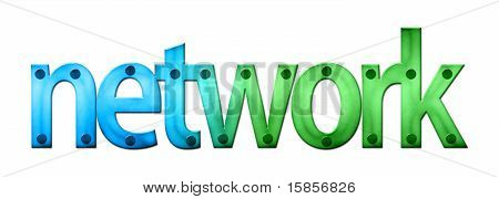 Lettering Network In Blue And Green Tones