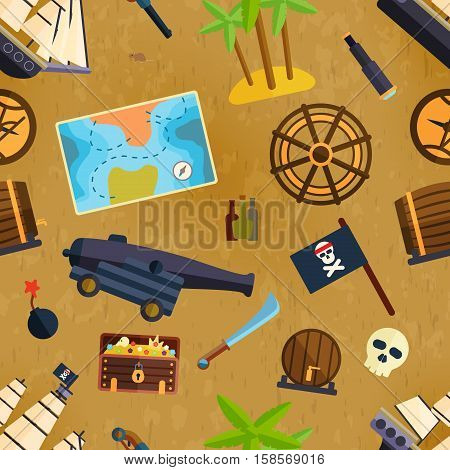 Pirate seamless pattern vector illustartion cute style