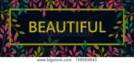 Vector colorful autumn quote in square frame. Autumn banner, poster. Slogan.  Beautiful. T-shirt design on black background.