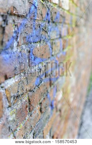 Old brick wall covered with paint and grime