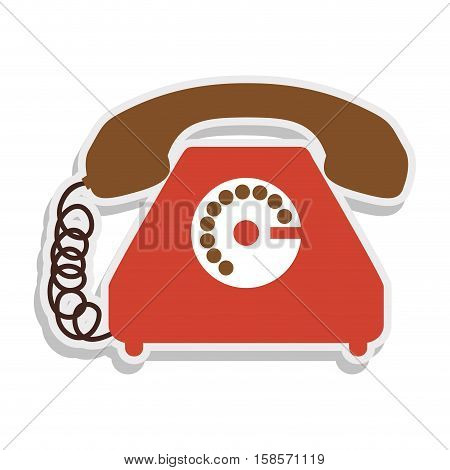 antique phone design with cord vector illustration