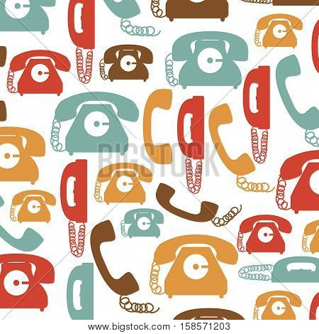 colorful pattern with phones with cord vector illustration