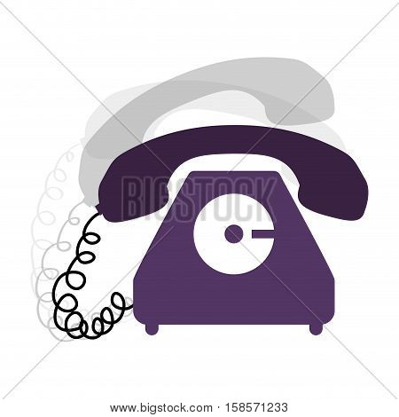 antique phone design with cord and shadow vector illustration