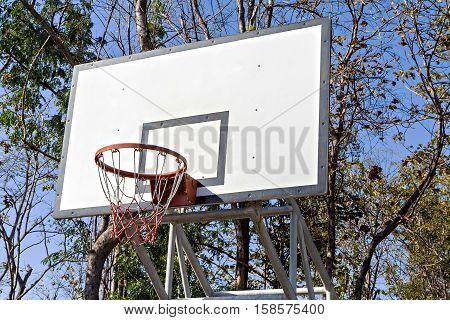 Basketball Hoop With White Backboard In Park