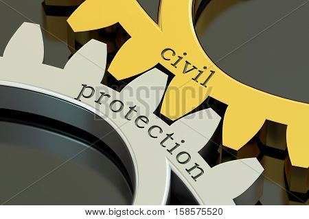Civil Protection concept on the gearwheels 3D rendering