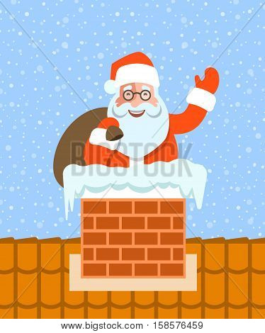 Santa Claus with bag of gifts sits in a chimney on a roof. Cartoon vector illustration. Cute character pose. Snow day background. Humor Greeting card design